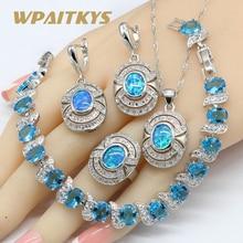 Australia Blue Opal Necklace Pendant Earrings Rings Silver Color Jewelry Sets For Women Blue Crystal Bracelets