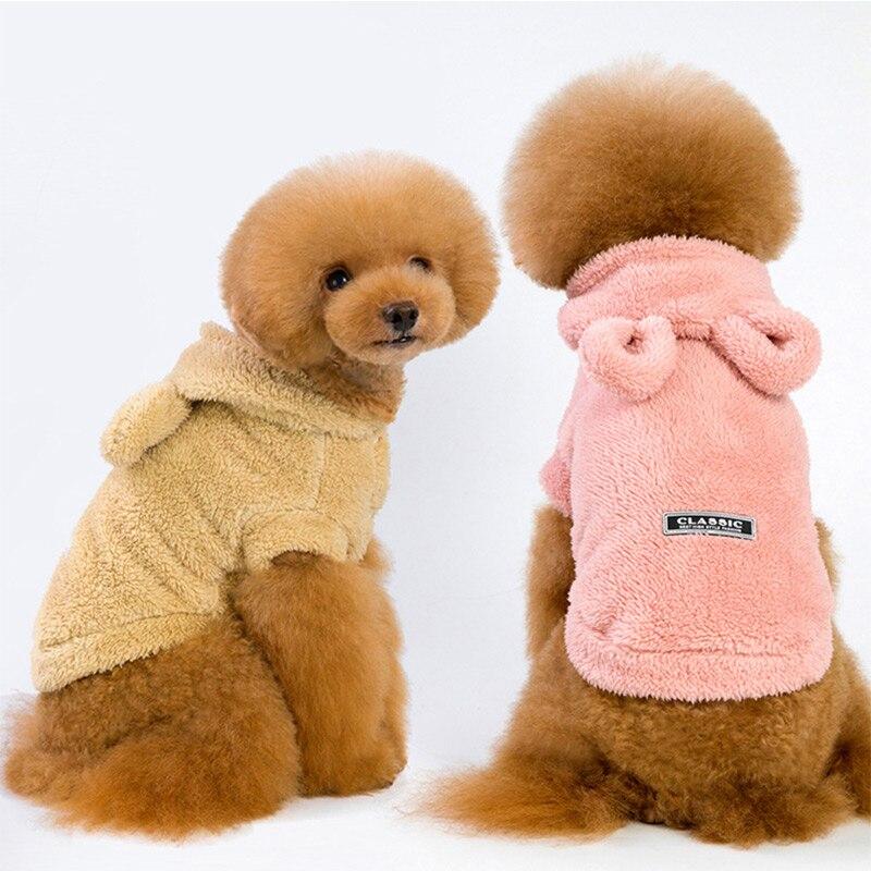 Perro lindo sudaderas con capucha otoño cálido suave ropa 5 tamaño de perro oreja de oso suéter sudadera chaqueta sudadera de mascota ropa