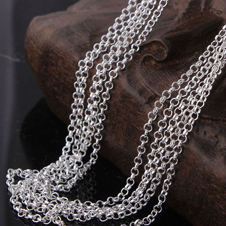 Silver Color 0 Style Chain Necklace Fashion Luxury Women Jewelry 16 18 20 22 24 26 28 30 inch Neckla
