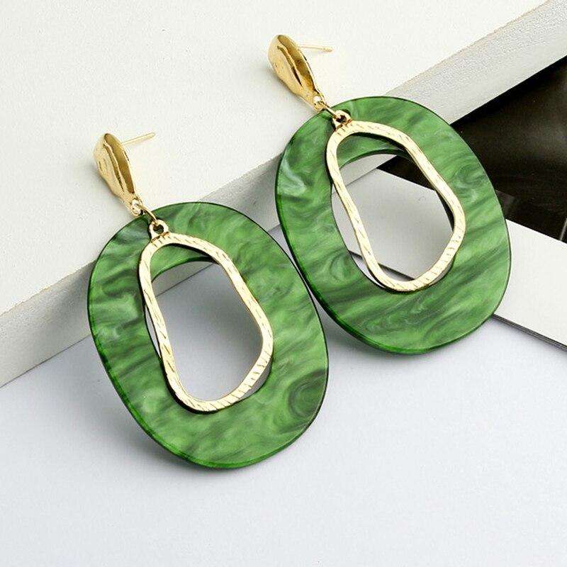 Simple Green Big Oval Drop Earrings For Women statement Resin Acrylic Geometric long Earring 2019 Gold Color Party ZA Jewellery
