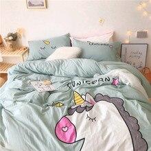 Literie housse de lit/drap de lit en coton lavé   Joli vêtement de dessin animé licorne, vert rose blanc jaune 100%, cadeau pour enfant