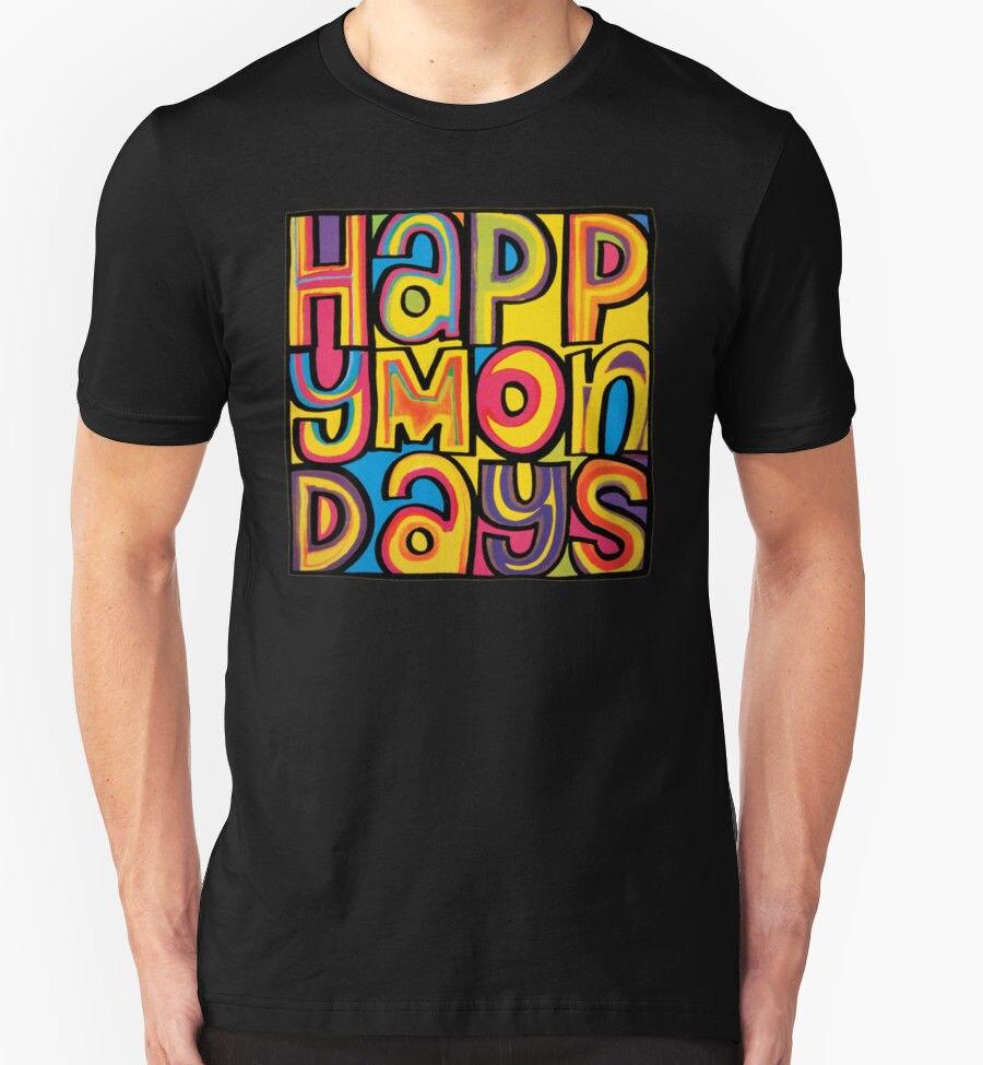 Camiseta personalizada diseño 100% algodón happy Mondays camiseta Banda de Música regalo de cumpleaños regalo presente cuello redondo Tops camiseta