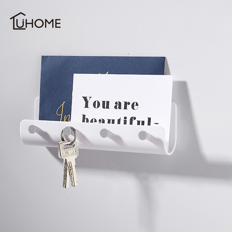 Soporte de almacenamiento en forma de U, bolsa para colgar, toallero para llaves, estantería para montar en la pared sin clavos con 4 ganchos, estante de almacenamiento, artículos diversos, estante organizado