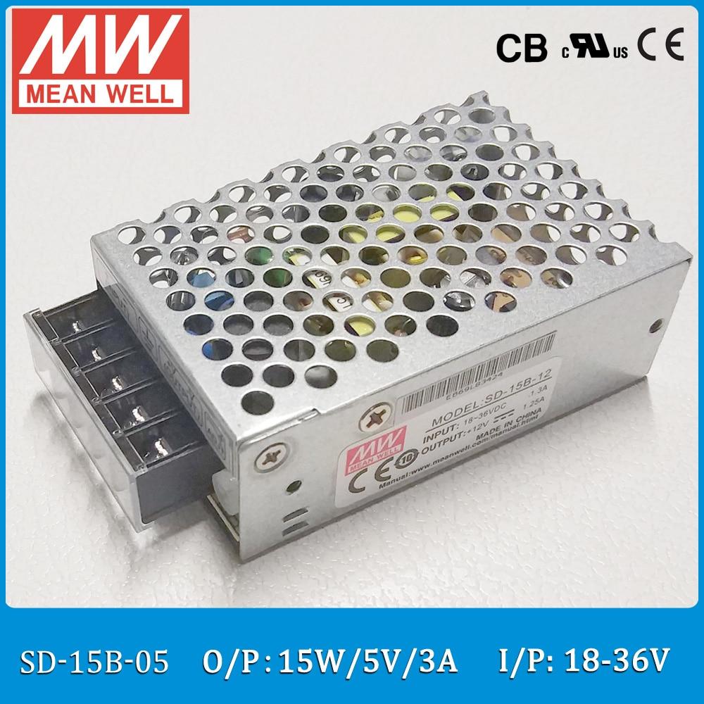 Convertidor de tipo cerrado Original MEAN WELL SD-15B-05 DC/DC salida única 15W 3 a 5V entrada 18 ~ 36VDC