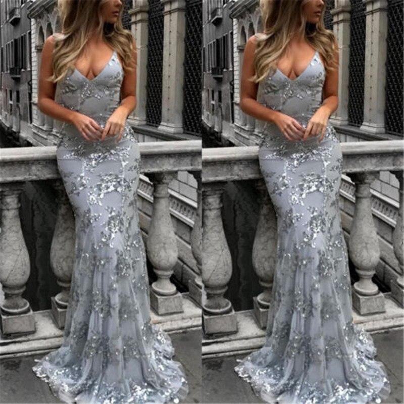 Nuevo vestido de fiesta largo Formal de lentejuelas para mujer de Estados Unidos Dama de Honor de boda Vestido Sexy con tirantes