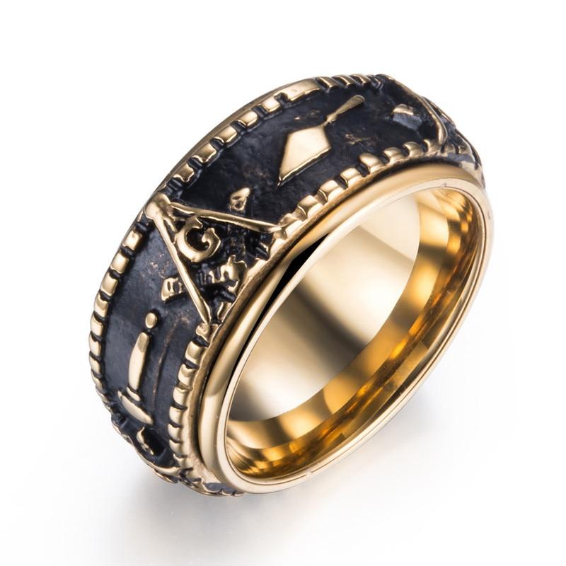 Gótico masonic rotatable masculino signet anel moda ouro cor spinner freemason banda de aço inoxidável bague homme tamanho #6-12