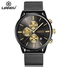 LIANDU mode hommes de luxe chronographe lumineux noir Quartz montre simulé acier inoxydable maille avec montre zegarki meskie