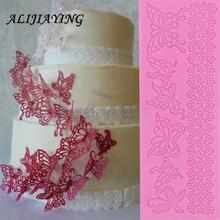 Moule ajouré en dentelle de fleur papillon   Moule de gâteau bordure outils de décoration, moule 3D de gâteau Fondant, moule tapis en Silicone de qualité alimentaire D0360