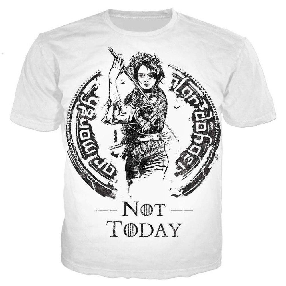 Não hoje arya stark t camisa masculina/feminina 3d impresso t-shirts de manga curta harajuku estilo tshirt streetwear topos