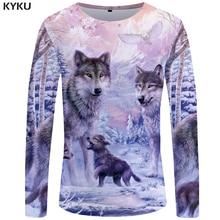 KYKUหมาป่าเสื้อยืดผู้ชายแขนยาวเสื้อLove StreetwearหิมะกราฟิกMountainเสื้อผ้าป่า3dเสื้อยืดHip Hop Mensเสื้อผ้า