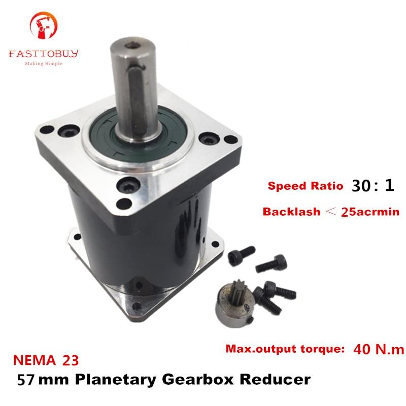 Alta Precisión NEMA 23 relación 30 1 caja de cambios planetaria 25 acrmin reductor planetario para NEMA23 57mm Servo/Motor paso a paso 57XG-30