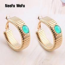 NeeFu WoFu Hoop Earrings Spring Earring Metal Retro Stone Big Earring For Woman Yellow Gold Large Brinco Ear Oorbellen Gift