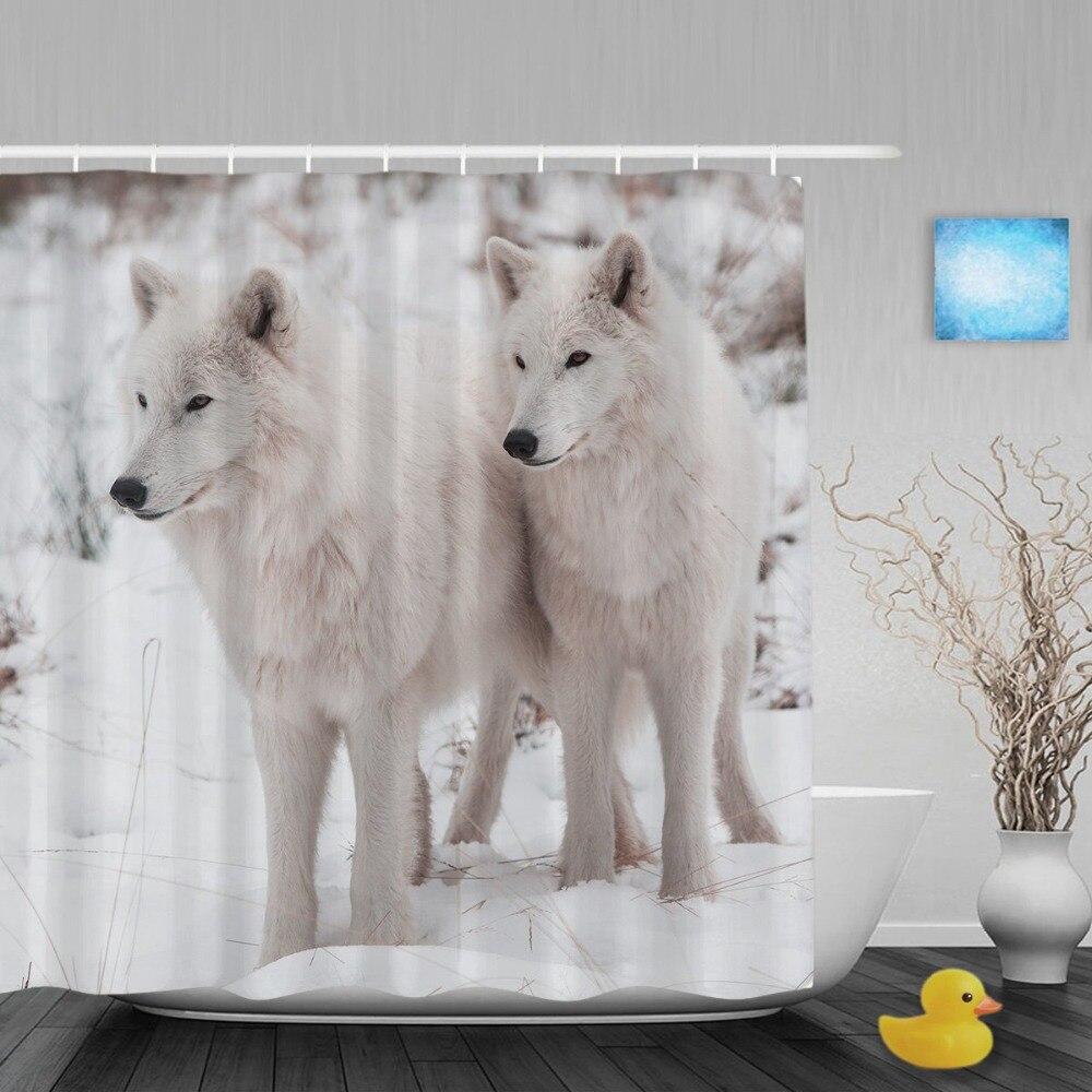 Retrato de Watchful Arctic Wolfs baño cortina de protección natural y Animal ducha cortinas tela de poliéster impermeable con gancho
