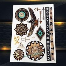 1PC Fashion Gold Eagle Flash Tattoo Stickers Women PYS-44 India Sunflower Henna Diamond Glede Design Arrows Tattoo Totem Arm Leg