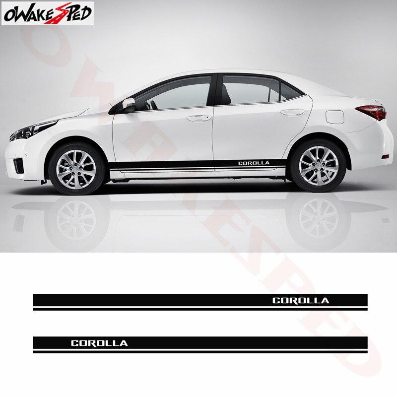 Para falda lateral de coche pegatina decorativa rayas estilo entramado carrocería puerta pegatinas vinilo calcomanía para Toyota Corolla 2009-2016