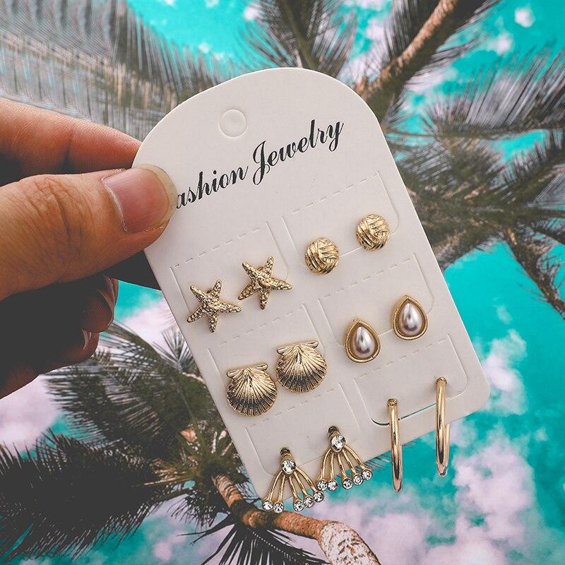 Tocona boho cor de ouro estrela concha pérola cristal parafuso prisioneiro brinco conjunto para as mulheres punk oceano metal brincos festa jóias f06501