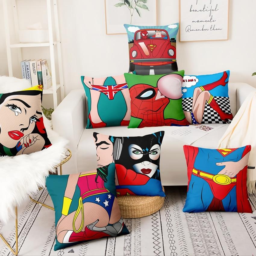 Cojín pop americano superhéroe, almohada decorativa Superman Spiderman, almohada decoración de hogar, sofá, cojines Almofada