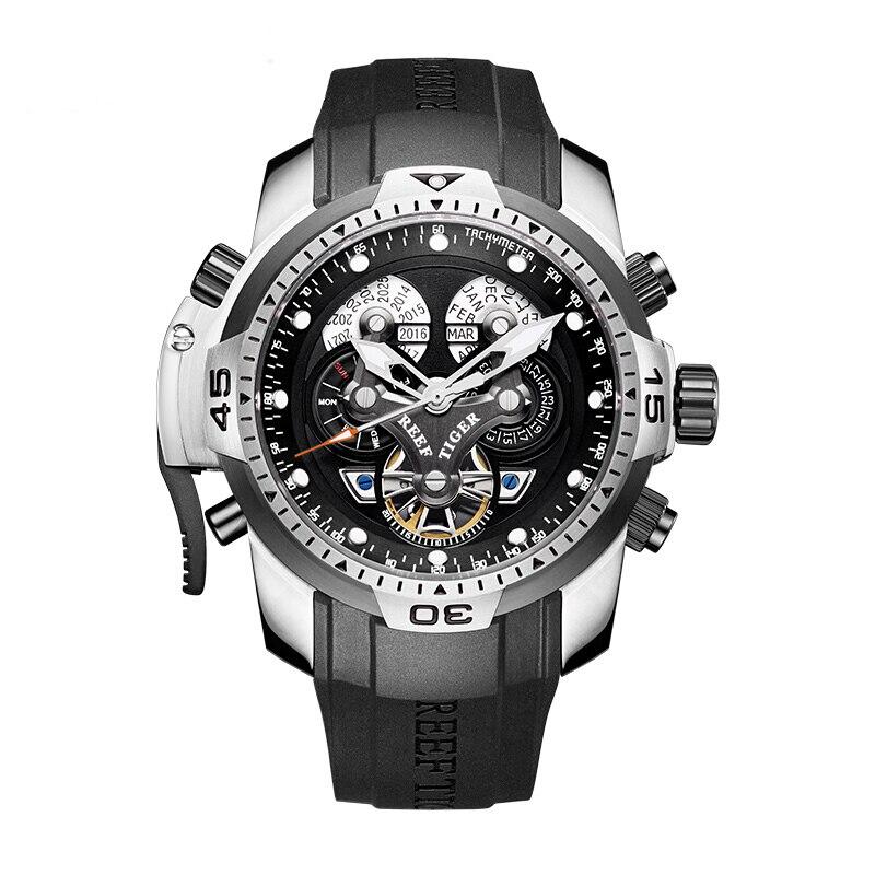 Reef tiger aurora série rga3503 masculino esporte militar multifunções dial relógio de pulso mecânico automático-pulseira de borracha