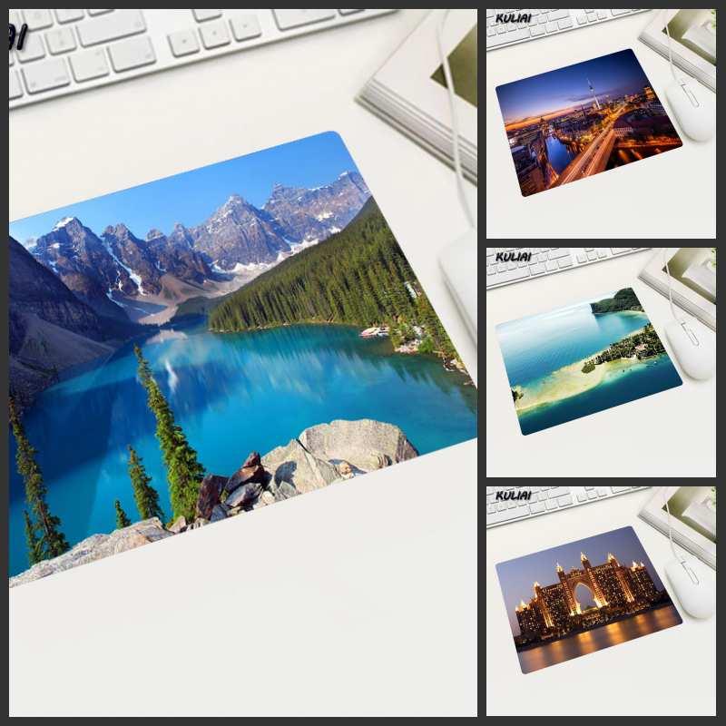 XGZ papel pintado con paisaje Natural alfombrilla de ratón de goma tamaño pequeño Rectangular antideslizante limpiable para Pc escritorio Mouse Player Laptop