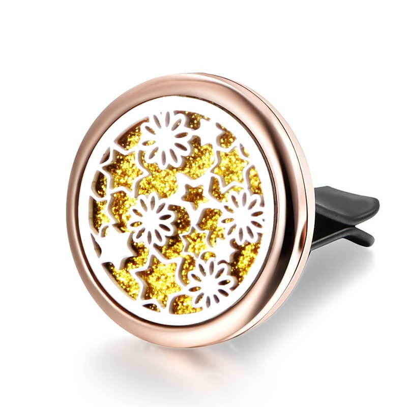 Beautiful Pattern Car Air Perfume Diffuser Locket Stainless Steel Vent Freshener Car Clip Aromathera