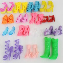 20PCS=10 pairs Girl Baby Colorful High Heels Sandals Accessories For Doll Shoes Clothes Dress Prop B