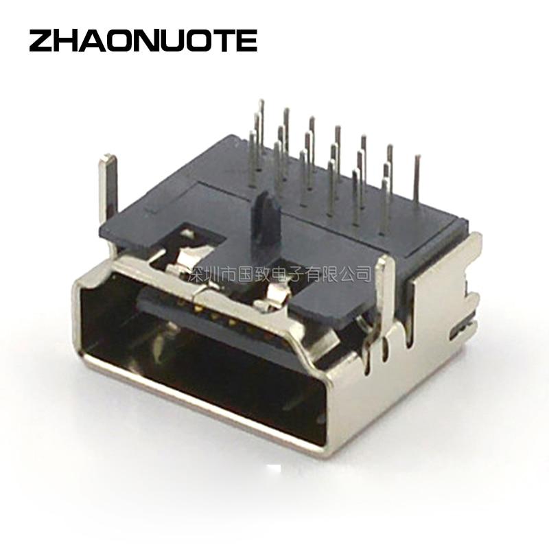 100 قطعة محول قابس الطاقة ، مقبس محول تيار مستمر HDMI ، إبرة مقاومة لدرجات الحرارة العالية ثلاثة صفوف 90 درجة بدون أذن