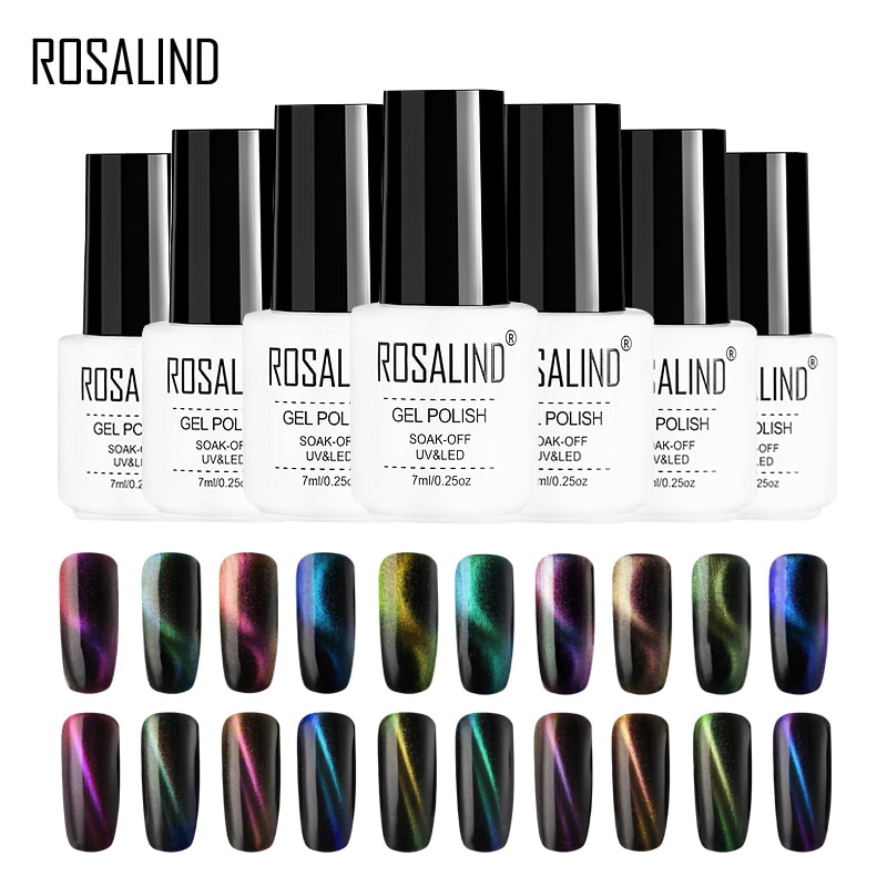 ROSALIND  Magic Cat Eyes Nail Polish 3D Effect Nail Art Manicure Soak off Semi Permanant Top Base Coat Gel Varnish UV LED