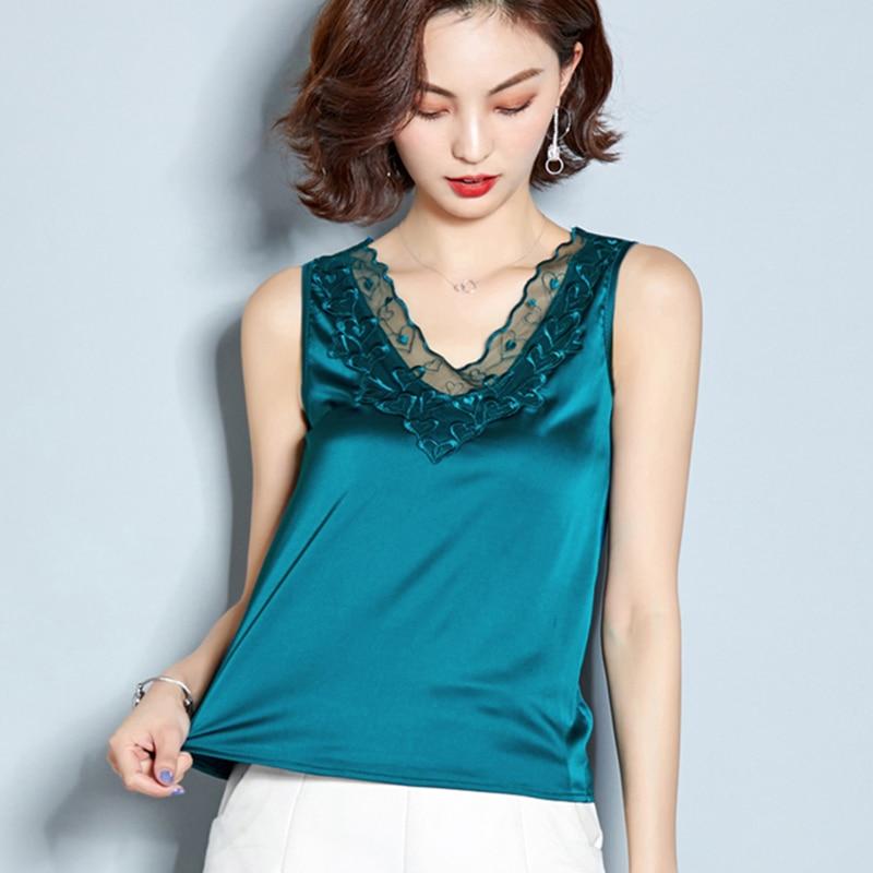 Moda coreana rendas de seda mulheres regatas streetwear cetim sem mangas preto malha de volta laço superior feminino plus size xxxl camisa branca