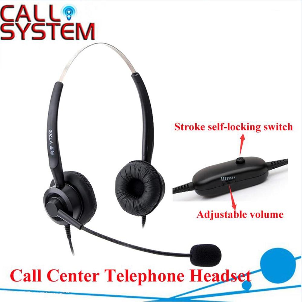binaural headset com plug com controle de volume e funcao mute do microfone com rj09