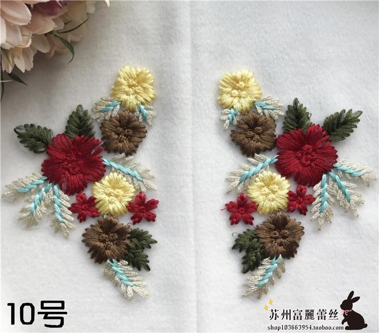 2 pares n° 10 flor bordado apliques parche parches para ropa apliques...