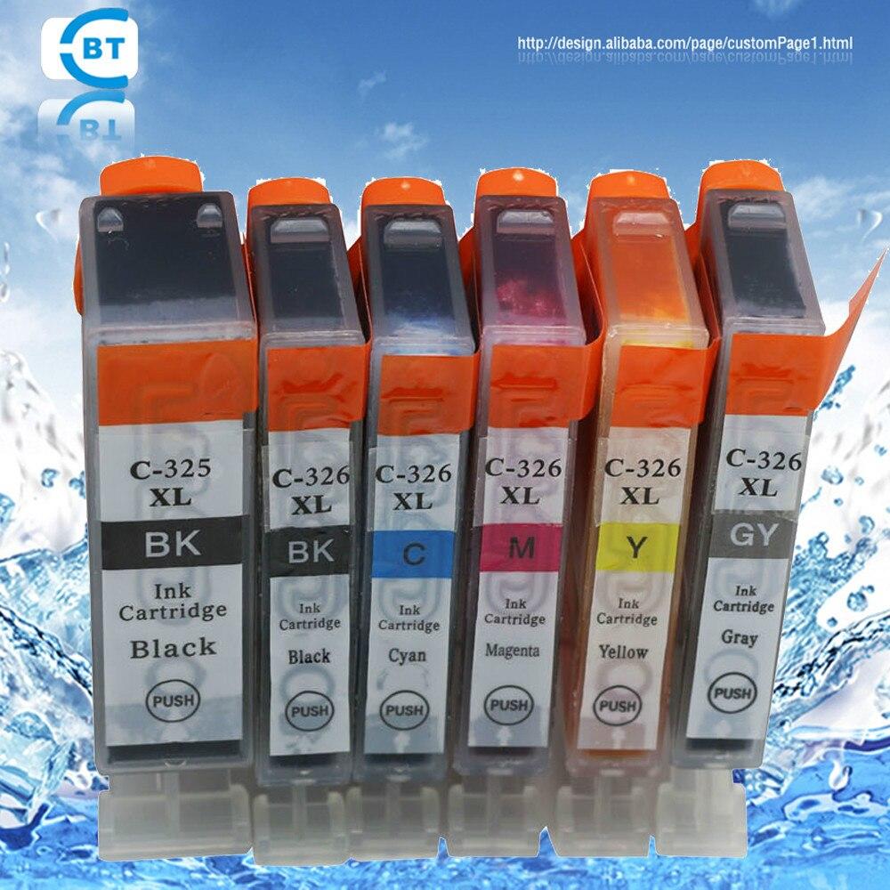 6 piezas compatible CANON BCI-325 PGBK BCI-326BK BCI326C BCI326M BCI326Y BCI326GY cartucho de inyección de tinta