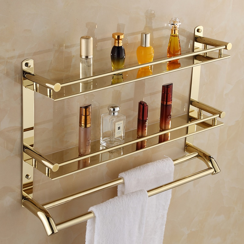 Bathroom Towel Shelf 2 Layer Gold Shower Rack Number Accessories Corner Storage Holder Shelves Bath Hardware Set