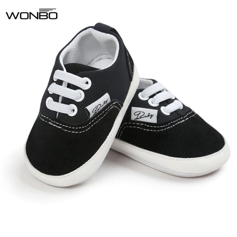 Wonbo, nuevo diseño, zapatos de lona para bebé con cordones, mocasines para bebé, suela de goma, calzado antideslizante, zapatillas de cuna, zapatos de bebé
