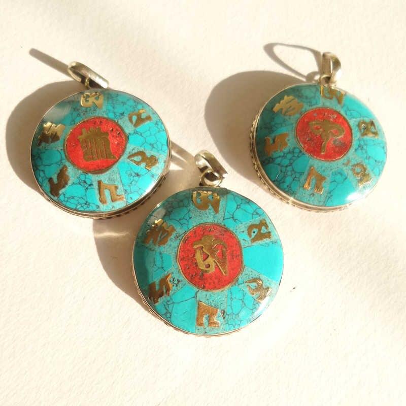 Echt Tibetischen Schmuck Mantras Amulett Anhänger für Mann Buddha Auge OM MANI PAD MICH HUM Kalachakra TBP424