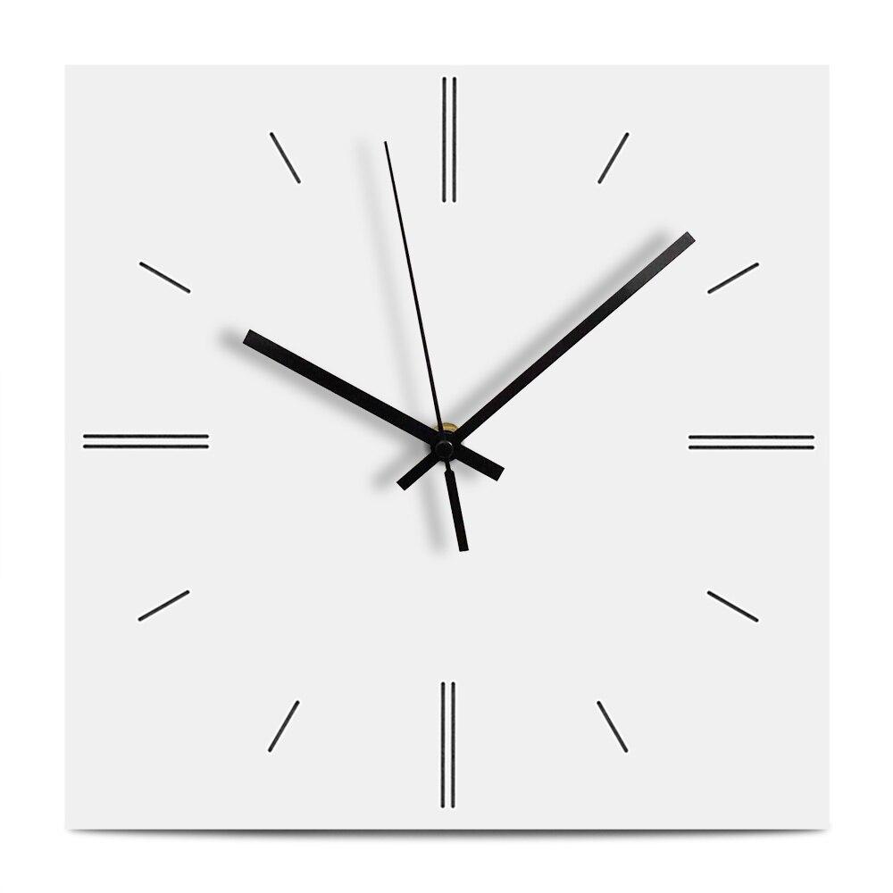 Reloj de pared Simple de madera, reloj decorativo de diseño moderno para sala de estar, reloj de pared cuadrado silencioso hecho a mano, colgante de madera para decoración del hogar
