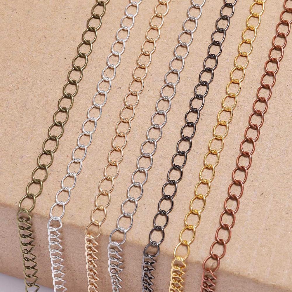 5 м/лот 2,5 2,8 3,6 4,8 мм с резным узором и длинным открытым ссылка кольцо на расширение Цепочки и ожерелья цепи хвост удлиняющаяся цепочка для расходных материалов для изготовления ювелирных изделий