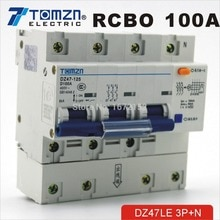 DZ47LE 3P + N 100A D typ 400V ~ 50HZ/60HZ fehlerstromschutzschalter mit über strom und Leckage schutz RCBO