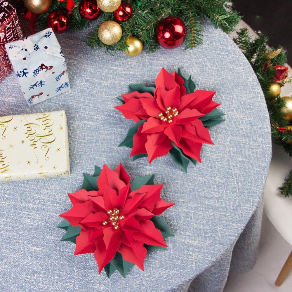 3 uds 3D Navidad flores de Pascua de flores de papel de Adornos de árbol de Navidad MESA CENTRO DE MESA decoración para puerta y pared de vacaciones DIY
