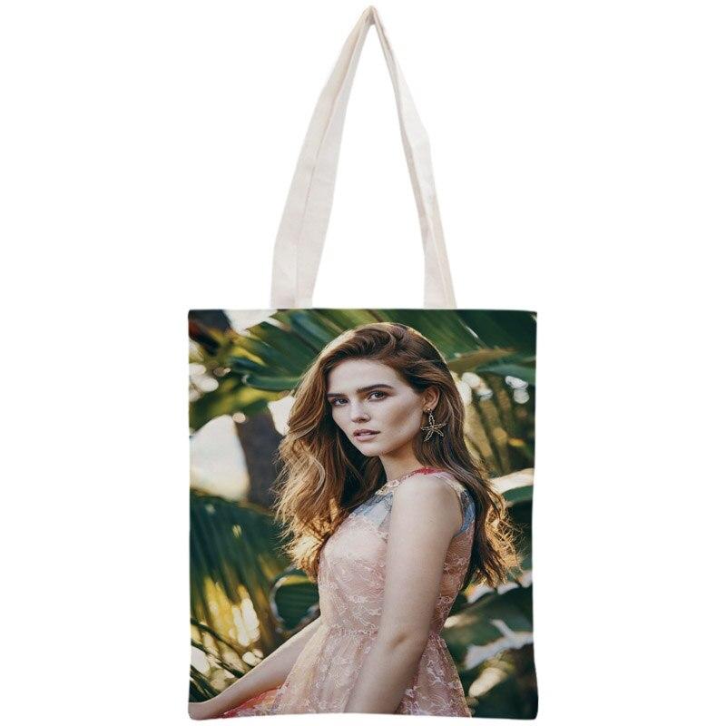 Custom Zoey Deutch Tote Bag Reusable Handbag Shoulder Pouch Foldable Cotton Canvas Shopping Bags Customize your image