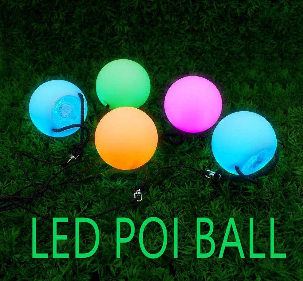 LED resplandeciente POI Ball Accesorios de danza del vientre RGB LED POI throw Balls danza del vientre accesorios para las manos puesta en escena Accesorios