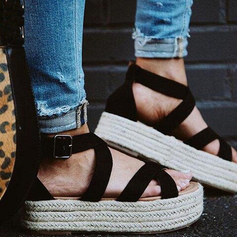 Planos de verano sandalias de plataforma rebaño de leopardo abierto del dedo del pie de Altura del tacón bombas zapatos de gladiador de las mujeres Plus tamaño 35- 43 XWZ5931