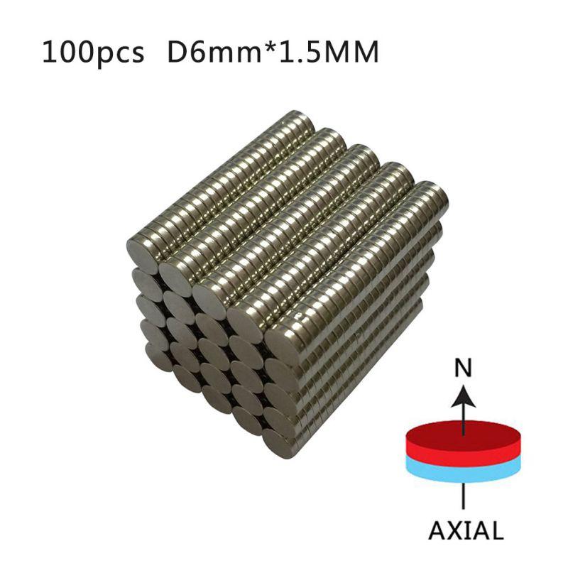 100pcs Strong Disc Magnets Dia. 6mm x 1.5mm N50 Rare Earth Neodymium Art Craft Fridge Magnet Newest