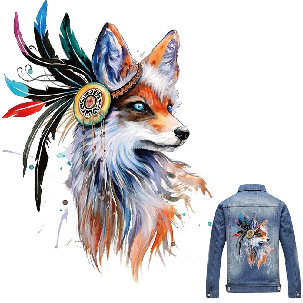 1PC Fuchs Patches Für Kleidung Bunte Fuchs Patch T-shirt Kleider Pullover DIY Zubehör Dekoration A-niveau Waschbar Appliqued