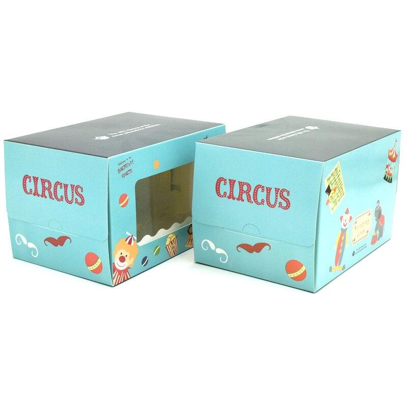 Libre shipping50pcs circo caja de pastel puro azul pastel papel de envolver, Rollo caja incluye soporte pastel de 15.5x11x10cm