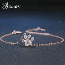 Bamos różowe złoto kolor kot niedźwiedź Paw bransoletka moda regulowany Chain Link Brscelet minimalistyczna biżuteria 2018 dzień matki prezent