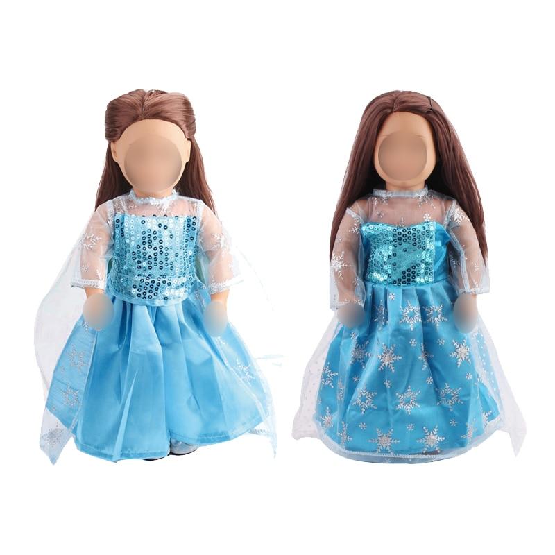 18 אינץ בנות בובת שמלת נסיכת אלזה של כחול שמלת קוספליי תלבושות האמריקאי יילוד בגדי תינוק צעצועי כושר 43 cm תינוק בובות c79