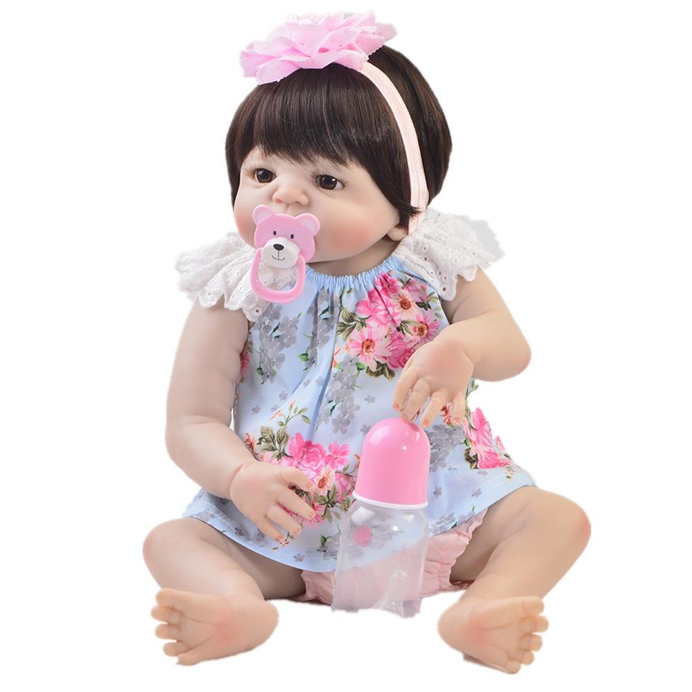 """Real bebé reborn completo silicona baby dolls niñas 22 """"55cm bebé reborn vivo bonecas niños regalo muñeca de juguete puede bañarse"""