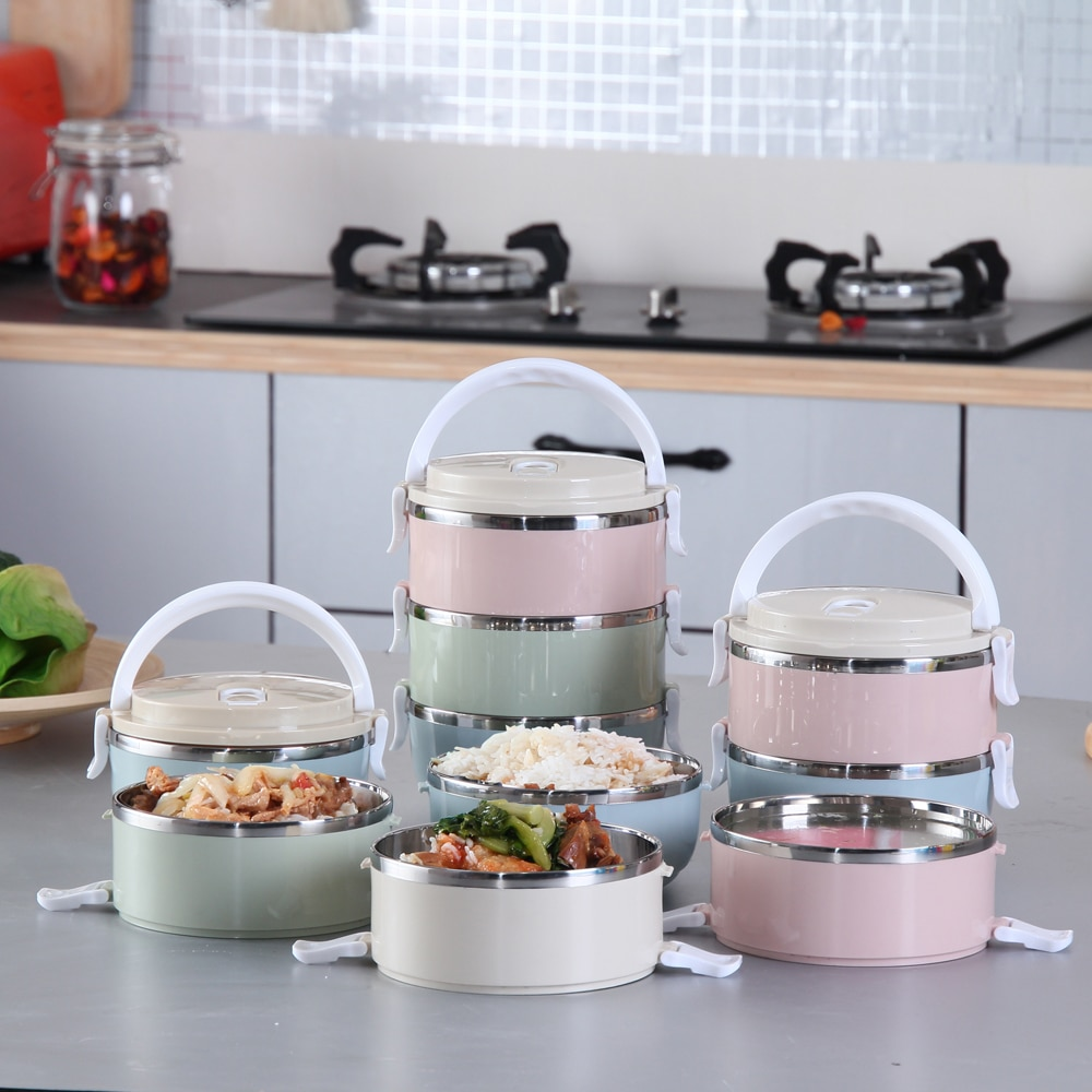 Magichome 2018 Portable 304 Stainless Steel Bento Lunch Box Gradient Color For Food With Containers Sealed Kids Dinnerware Set