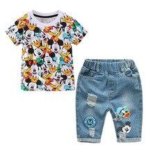 Mickey donald pato impressão meninas conjuntos de roupas para meninos roupas ternos 2019 meninas partes superiores festa + jeans shredded 2 peças roupas