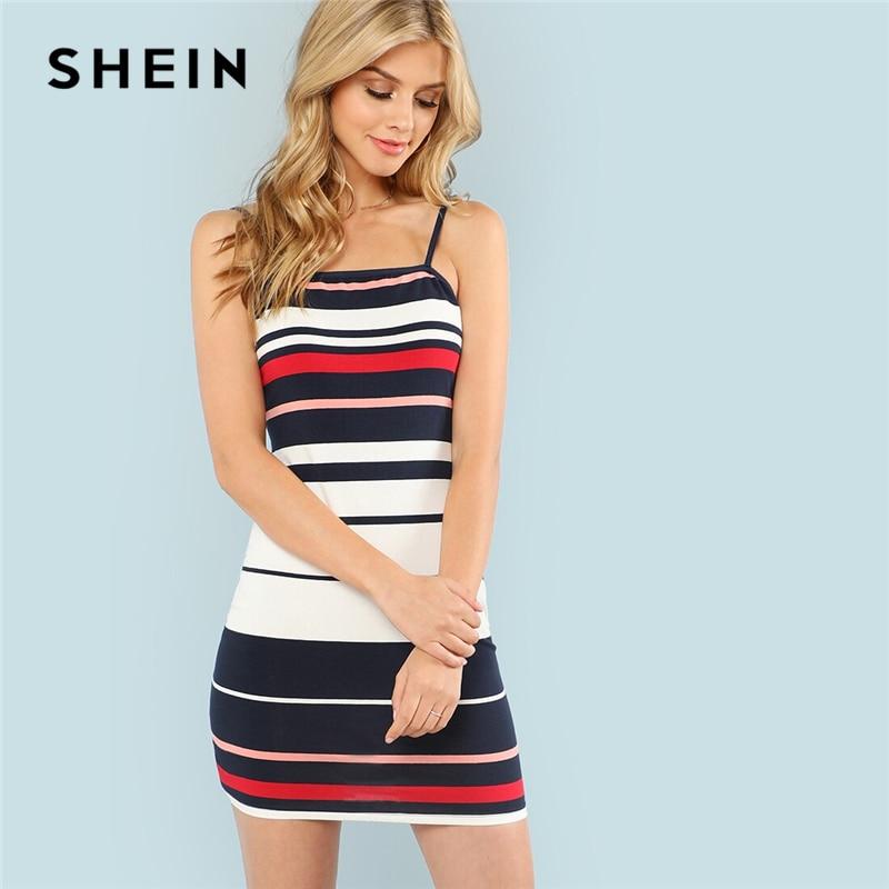 SHEIN Color Block rayé Cami robe Chic Spaghetti sangle sans manches Slip robe dété 2019 Slim Fit moulante femmes robes